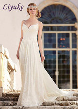 Buy Fashion Gorgeous Lace Spaghetti Straps Sweetheart Wedding Dress Brush Train Appliqued Backless Wedding Gown A-Line Bridal Dress for $177.44 in AliExpress store
