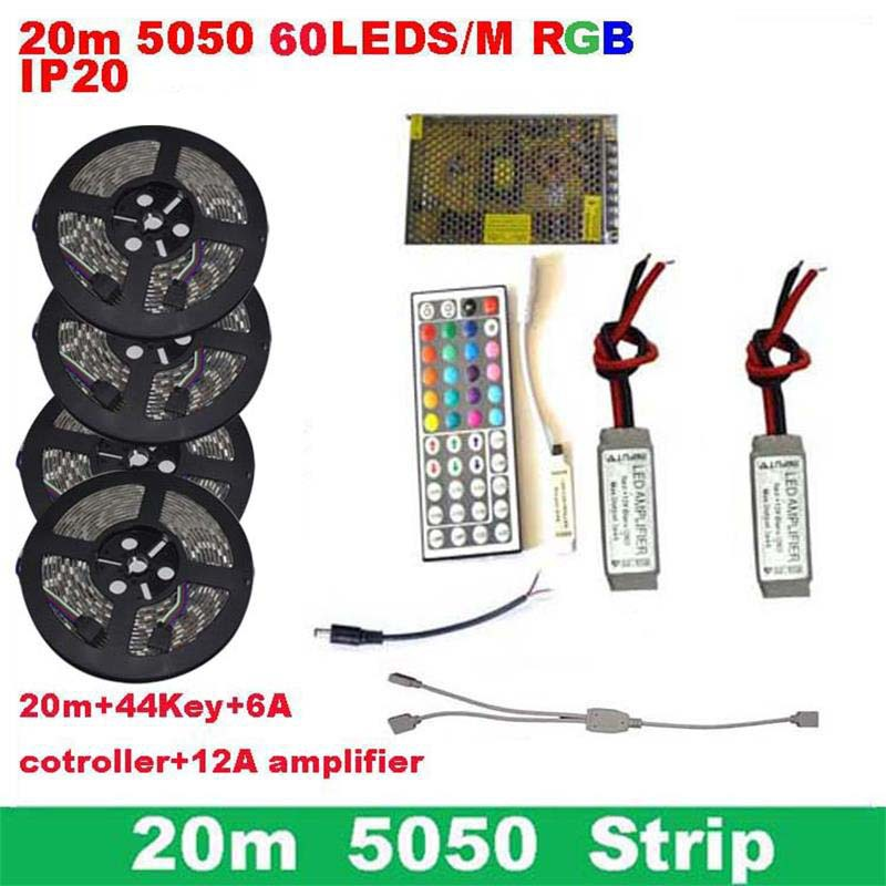 20m 5050 rgb Led strip IP20 60Led/M Led 12V flexible light luces de navidad RGB12v 6A mini Wireles Control 12A Amp+12v 20A Power(China (Mainland))