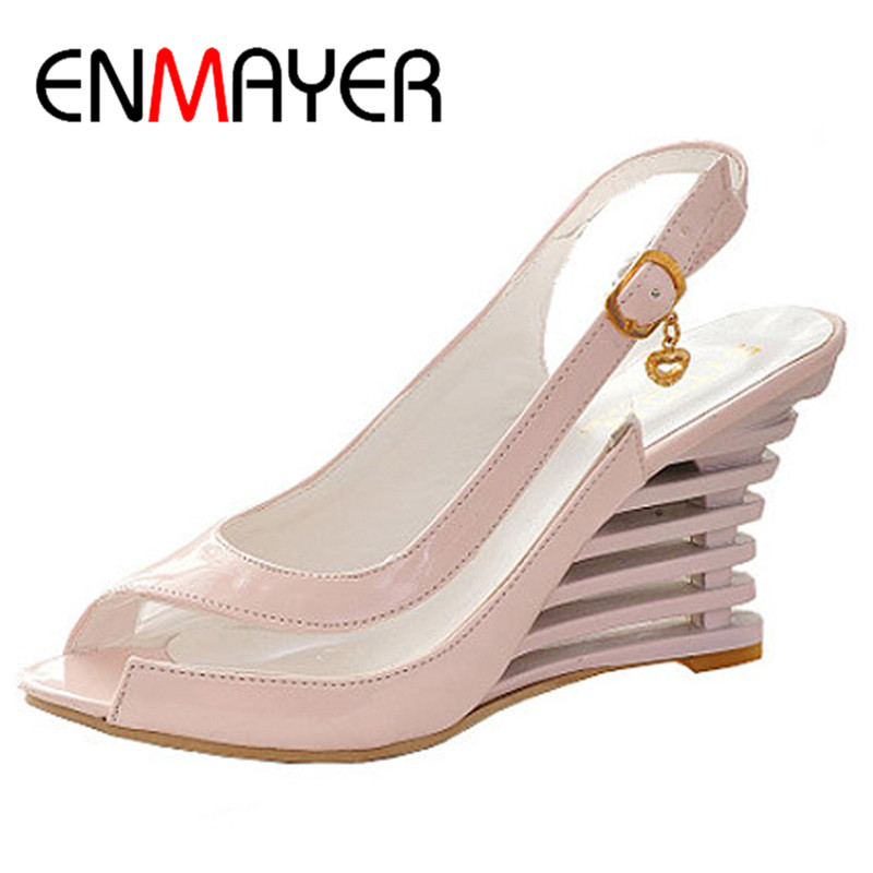 ENMAYER Wedge Heel Sandals Buckle Style Open Toe Shoes transparent Women Summer Shoes Patent PU Sexy Summer Brand Shoes Woman(China (Mainland))