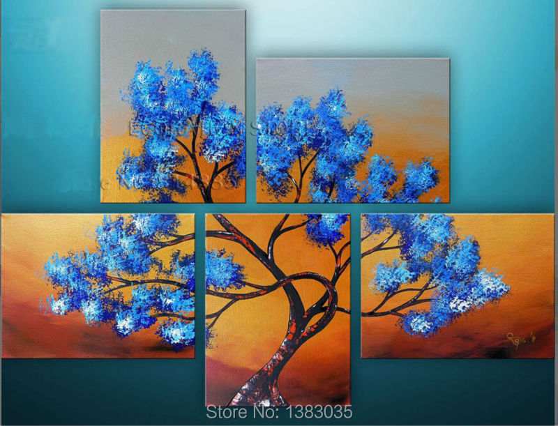Hand Painted Canvas 5 Panel Blue Tree Oil Painting Modern ...