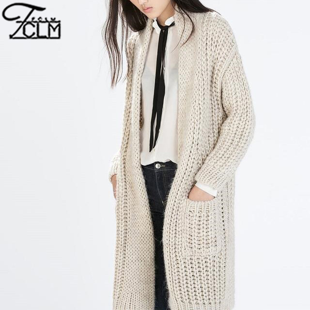 Autumn Winter Knitted Open Stitch Cardigans Long White Sweater Coat  Long Sleeve Warm Knit Coat CA66Одежда и ак�е��уары<br><br><br>Aliexpress