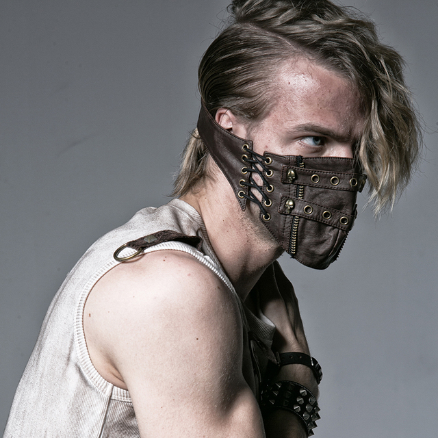 New Steampunk Rivet Half Face Mask MOTORCYCLE Party