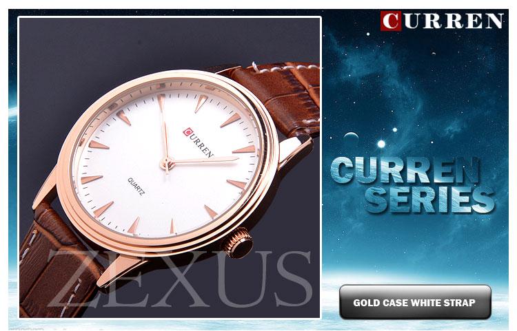 2014 New Fashion Brand Curren Genuine Leather Strap Watch Men Quartz Watch For Man Dress Watch
