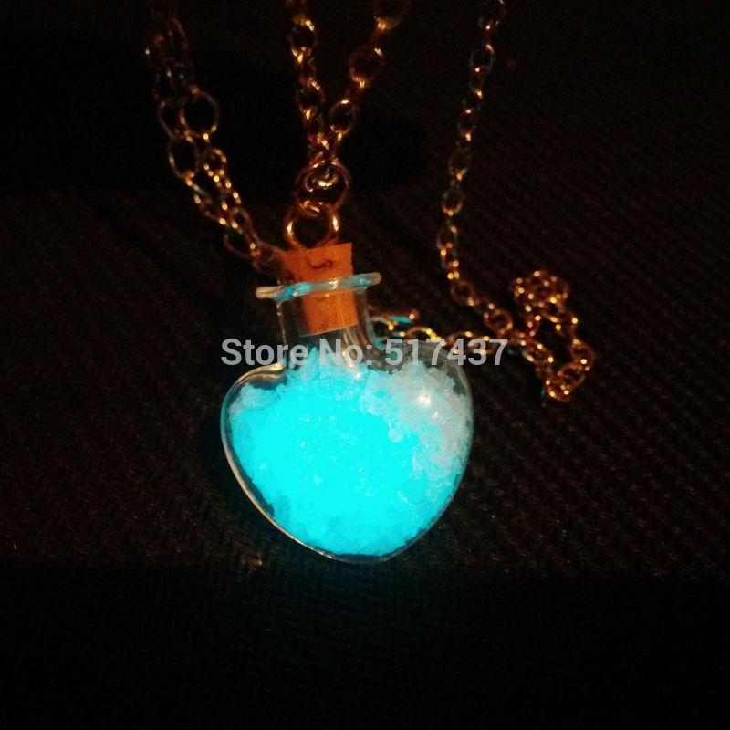 3pcs free shipping glowing heart bottle Steampunk necklace Magic Fire Fairy Angel dust pendant charm Glow in the dark(China (Mainland))