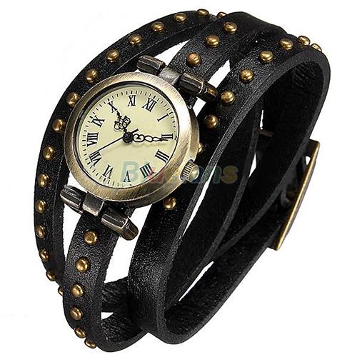 5 Color Women Lady Girl Retro Luxury Bronze Leather Rivet Stud Leather Strap Bracelet Quartz Dial
