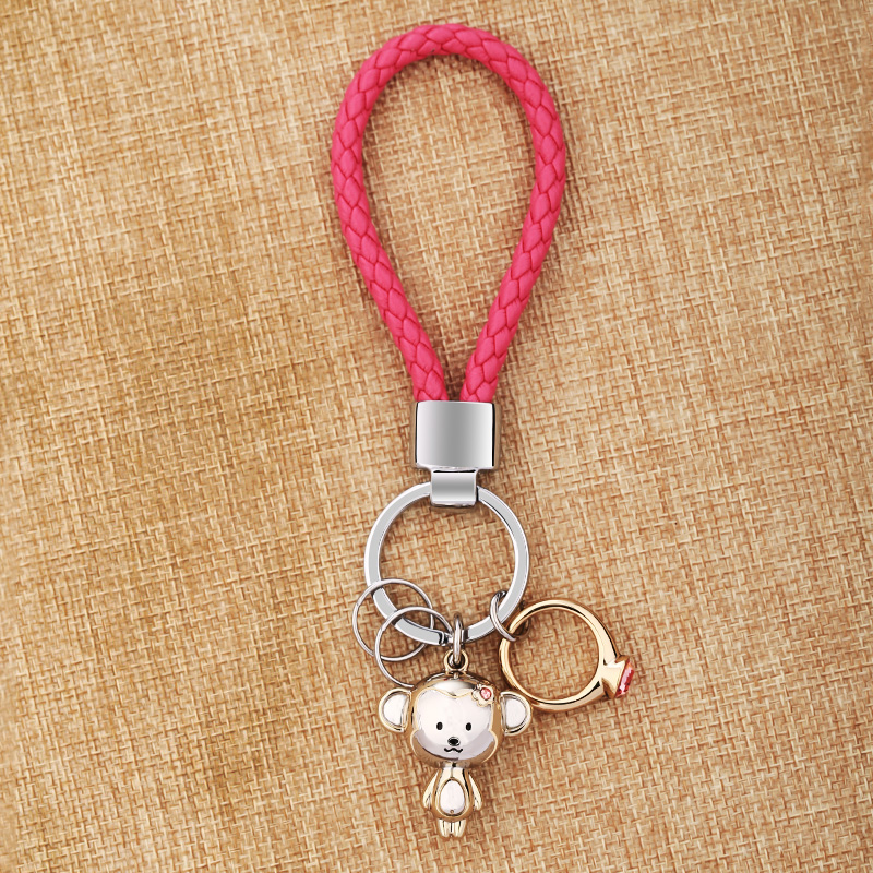 MILESI Lovers KeyChain Monkey Pendant Ring Rhinestone women cute Key Finder couple Keyring Gift Creative New fashion K0197(China (Mainland))