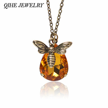 Buy QIHE JEWELRY Dainty Petite Simple Bronze Chain Honey Bee Crystal Pendant Necklace Bee Jewelry Bee Keeper Bee Lover Gifts for $1.21 in AliExpress store