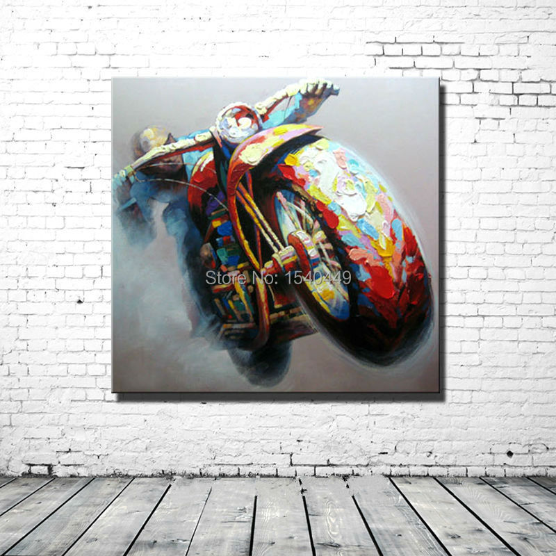 100% Handpainted Colorful Cool Motorcycle Morden Abstract Oil Painting On Canvas Art For Home Decoration Wall Paintings MD1P257