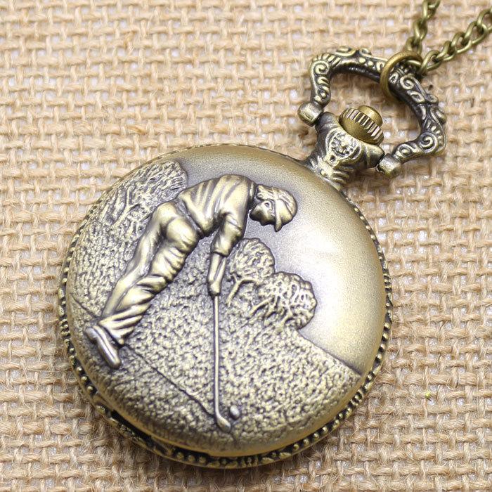 Карманные часы кварцевый механизм часы мужчины играть в гольф картина часы ожерелье цепь карманные часы p486
