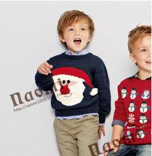 Free Shipping 2014 New Fashion Santa Clothes Children Santa Boys Snowman Sweater Kids(China (Mainland))