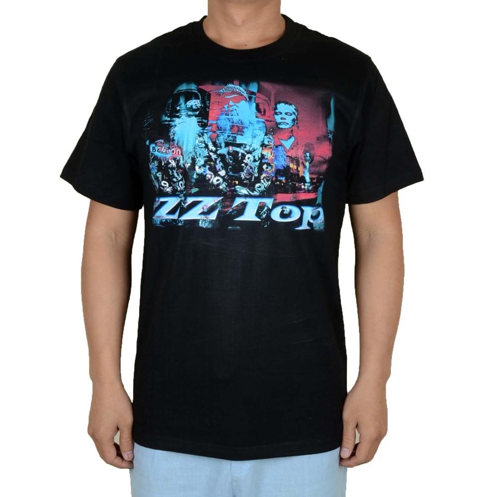 Free shipping ZZ TOP Black Group Photo Logo rock 100% cotton new T-Shirt(China (Mainland))