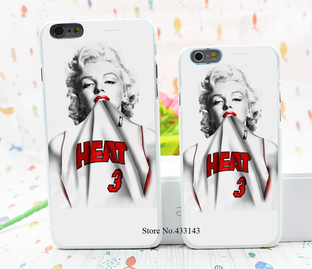 Marilyn Monroe Miami Heat Dwyane Wade 3 Jersey Style Hard White Cover Skin Back Case for iPhone 6 6s 6 plus(China (Mainland))