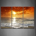 3 Piece Wall Art Painting Sunrise On The Beach Picture Print On Canvas Seascape 4 The