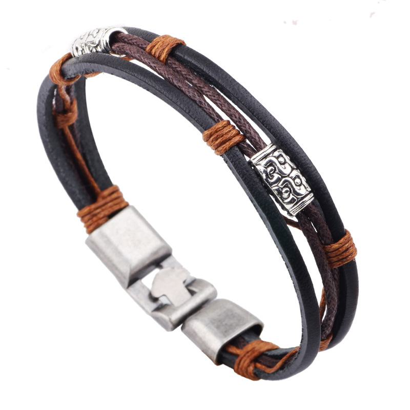 Retro PU Leather men Bracelets Multilayer Woven Beads Braided Rope Women Bracelet Bangles Charm Pulseras Buckle Hand Ring Chain(China (Mainland))