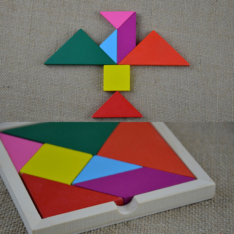 1pc Classical Intelligent Toy Colorful Wooden Tangram Jigsaw Puzzle Square I.q. Game Brain Traning Toy-0045(China (Mainland))
