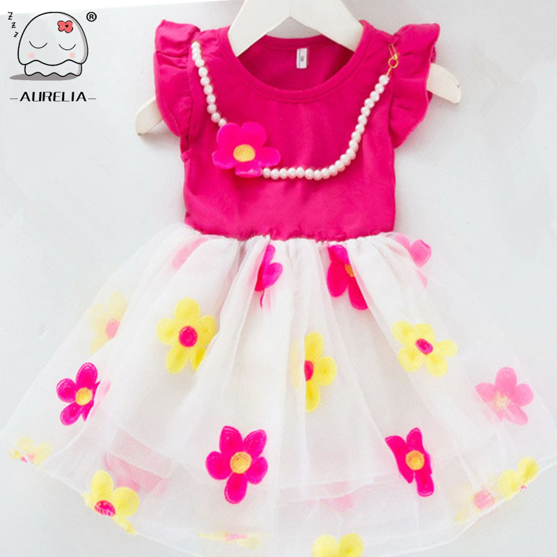 Pearl Necklace As Gift Baby Girl Cotton Floral TuTu Dress Child Flower Princess Dress Girls Party Cloth Children Tulle(China (Mainland))