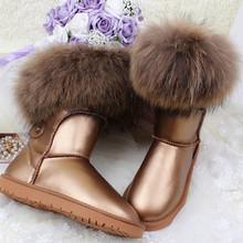 Invierno de Lujo Ultralarge Zorro Nieve Botas de piel de Cuero Genuino Naturales Mujeres Media Pantorrilla Botas de Piel Reales Botas de Nieve de Las Mujeres zapatos(China (Mainland))
