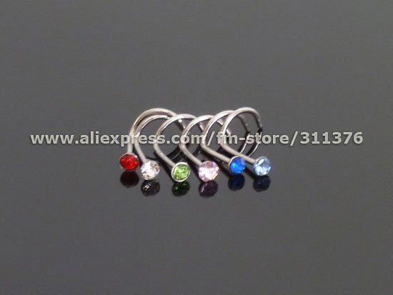 20G 316L Surgical Steel Screw Nose Ring with Multi-Gem, Body Piercing Jewelry BJ009