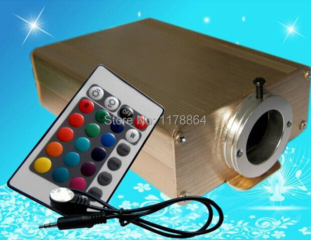 RGB Multi-Color 16W LED Optic Fiber Lights Engine+24Key IR Remote End Grow All Kinds of PMMA Plastic Fiber Optics Cable(China (Mainland))