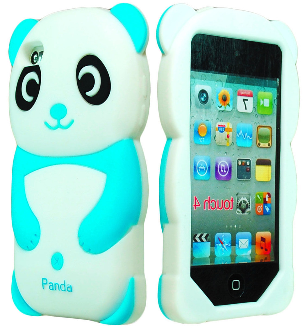Cute 3D Animal Sky Blue Panda silicone Case for iPod Touch 4th Generation 4g(China (Mainland))