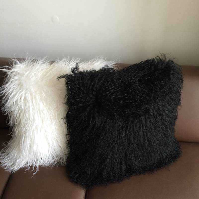 Free Shipping 2pcs/lot Large Pure Wool Cushion Pillow Head Cushion Sofa Car Rugs White/Black Colors 100% Sheep Fur Square Pillow(China (Mainland))