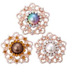 5 sztuk/partia wysokiej jakości 18mm przystawki przycisk biżuteryjny duży kwiat lotosu zatrzaski Fit Snap bransoletka dla kobiet zatrzaski biżuteria(China)