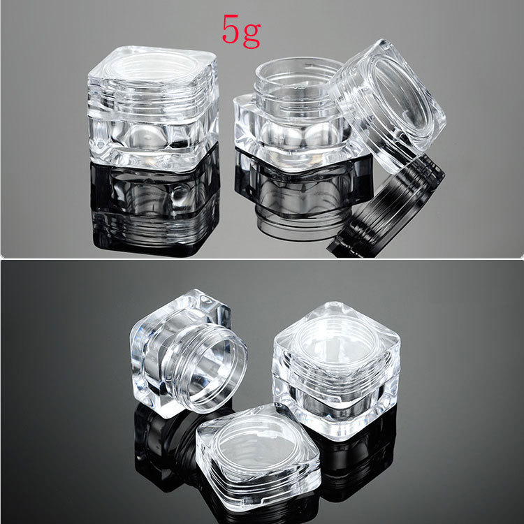 5g empty square acrylic clear cream cosmetic containers jars lip balm tins container,0.17oz transparent sample Mini bottle jars(China (Mainland))