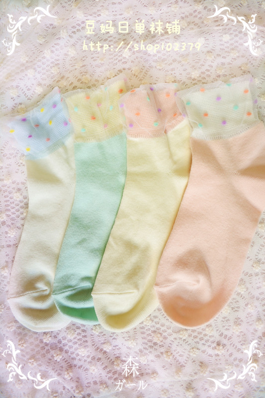 Summer ice cream multicolour polka dot puff yarn laciness sock glass socks crystal socks(China (Mainland))