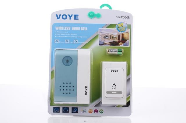 V004B wireless doorbell, LED electronic music door bell remote control dc doorbell home business 38 first audio source(China (Mainland))