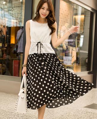 Korea Edition Chiffon Pleated Wave Point Splicing Bohemian Dress(China (Mainland))