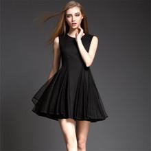 summer dress 2015 spring summer new fashion OL Heavy stitching Slim thin gauze tutu dress women dress size s-xl free shipping(China (Mainland))