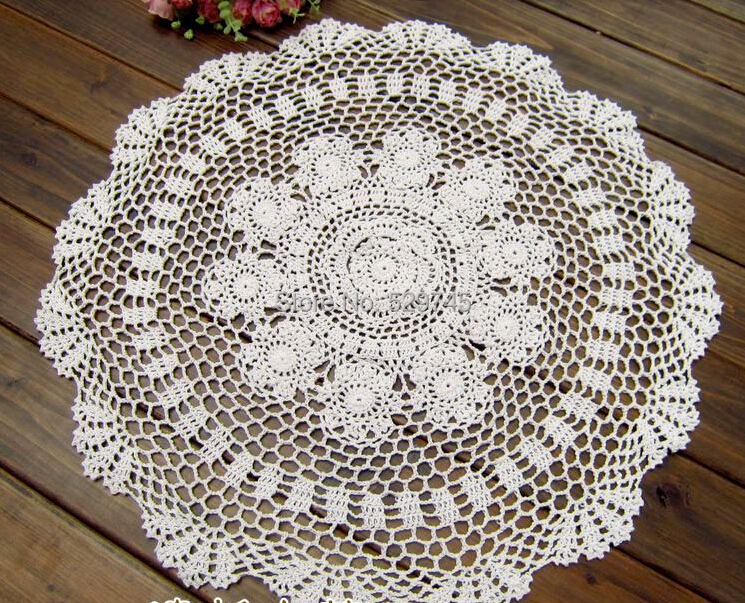 Handmade Crochet flowers retro Decorative Hollow Circle pad doilies Cover Cotton Towel Round tablecloths(China (Mainland))