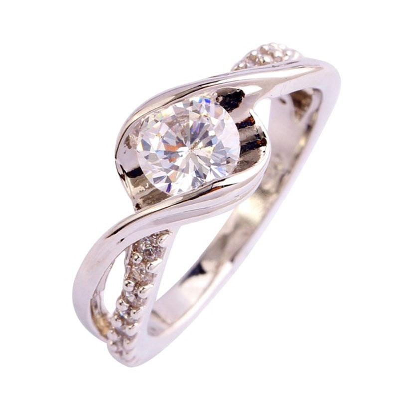 Romantic Wedding Engagement Rings Women Men Bridal Gift Round Cut White Topaz Silver Planted Ring Size 6 7 8 9 10 11 12(China (Mainland))