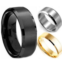 2015 New 8MM Trendy Titanium Steel Band Brushed Wedding Bands Stainless Steel Solid Ring Men Gold Silver Black Classic Ring 1PC(China (Mainland))