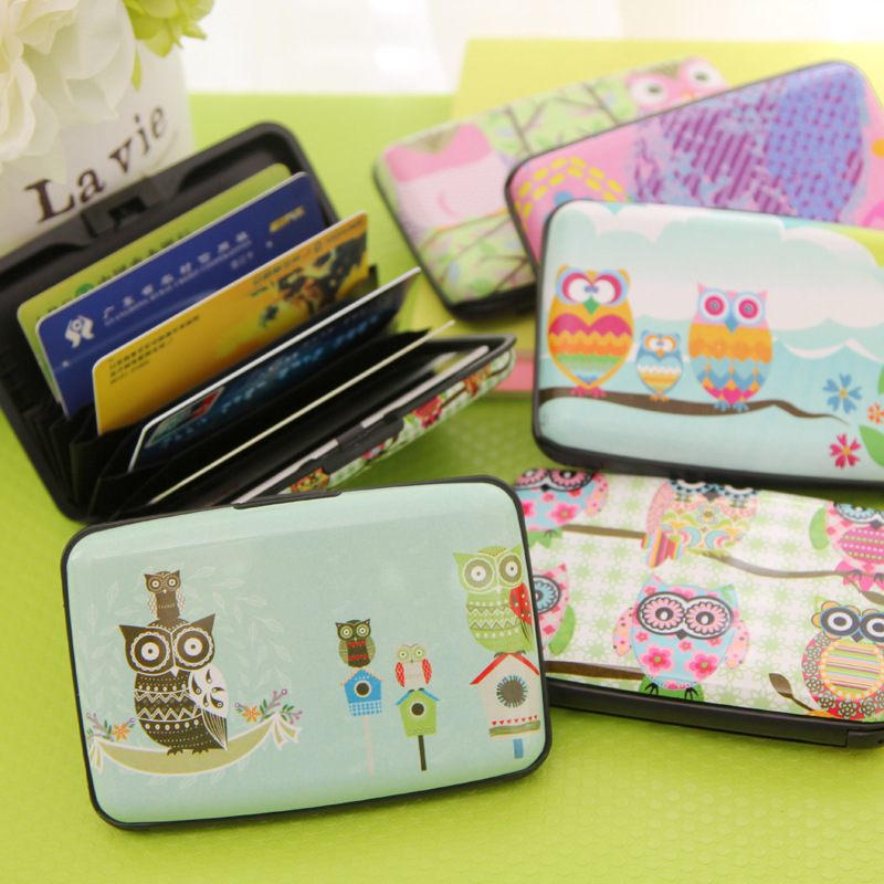 6 Color lovely Owl card holder bag ultra-thin lovely more screens card bag bus card bag travel wallet(China (Mainland))