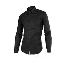 17 Colors Men Shirt 2015 New Slim Fitness Style Long Sleeve Solid Casual shirt Camisas Mens shirts Black  Dress Shirts FHY424