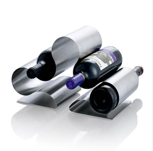 Classic Euro Style Stainless Steel Wave Shape Wine Bottle Holder Liquor Rack Bar Home Decor Display - QL Group 2 store