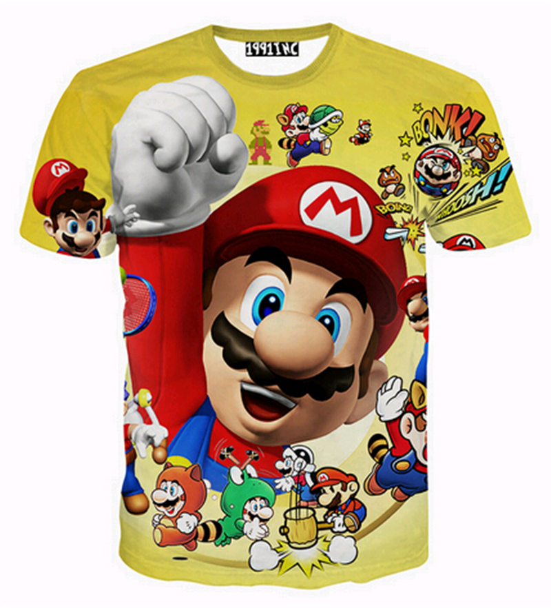 2016 Women/men 3d cartoon T Shirts Super Mary T shirt O Neck Men Printed Hip Hop T-Shirt Tops Tees Famous Brand T Shirt(China (Mainland))