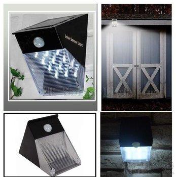 Solar Motion Sensor PIR Wall Mount Garden Light+100% solar powered+12 LED White blubs Solar wall light Free shipping