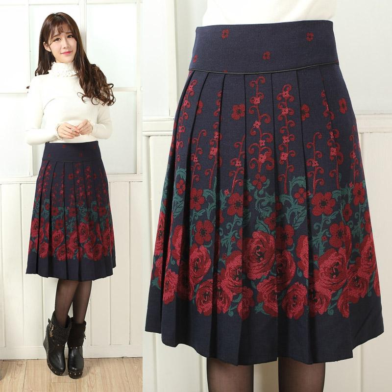 olso knitting saias femininas 2014 plus size skirt pleated