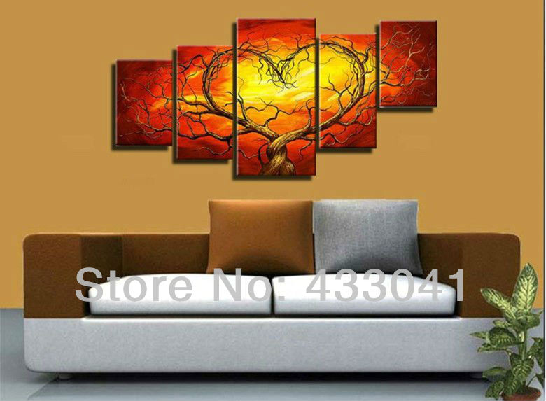 Red Room Wall Decor : Red yellow couple lovers heart tree art canvas painting