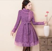 Original 2016 Fashion Long Winter Coat Elegant Slim Princess Female Outwear Stand Collar Full Sleeve Women's Woolen Jacket Coat(China (Mainland))
