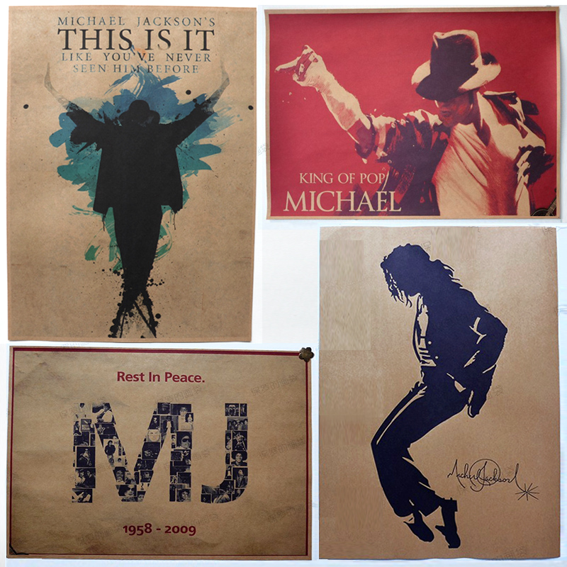 4pcs/set Michael Jackson nostalgic retro classic poster paper core is the sitting room the bedroom is decorated hang a picture(China (Mainland))