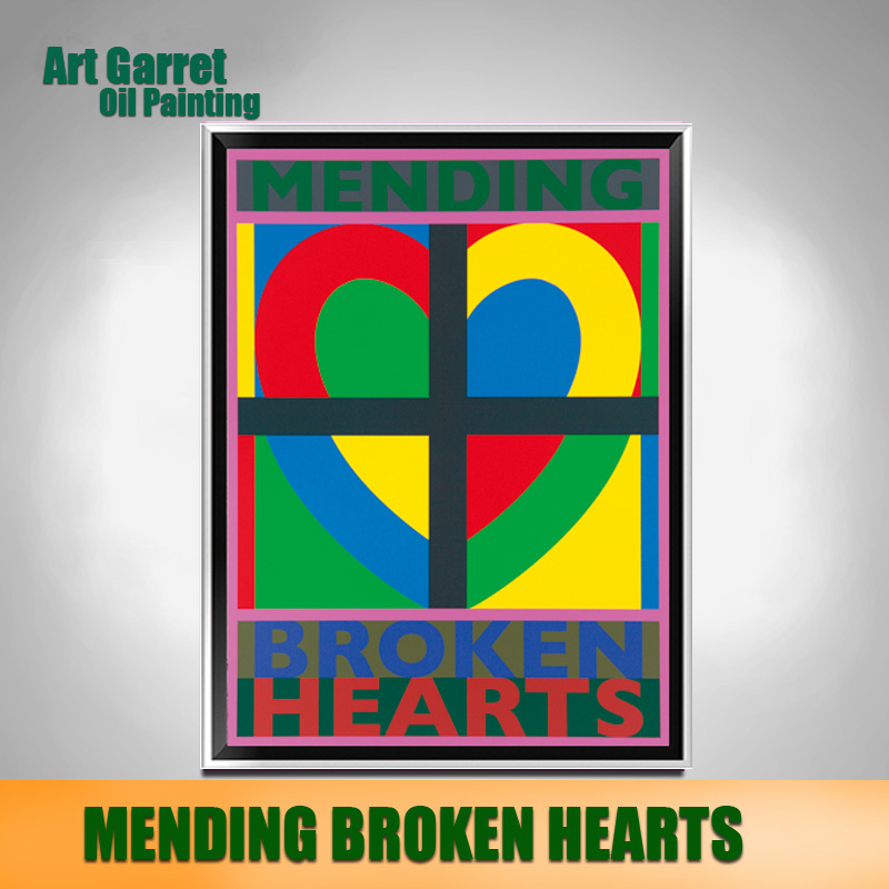 Handmade Colourful Abstract Oil Painting Canvas Art Modern Decorative wall art for home Decor Mending Broken Heart(China (Mainland))