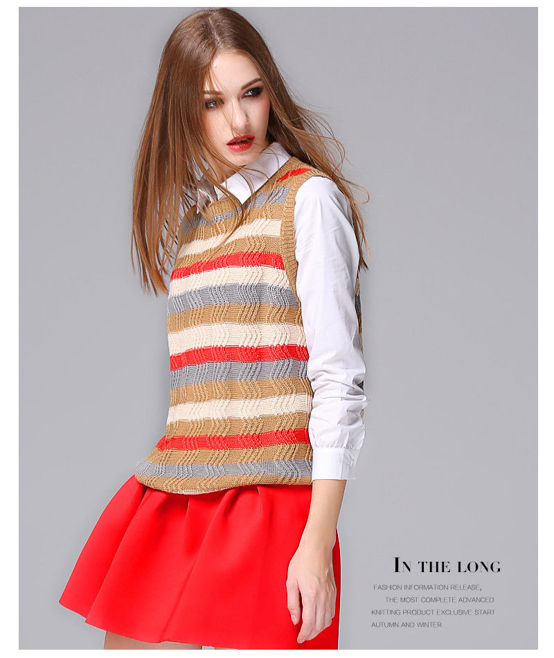 2015 Winter Cotton Sweater Sleeveless knitted womens' Vest Casual Striped - Tara's Shop store
