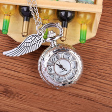 Buy Fashion Vintage Hollow Flower Design Quartz Small Pocket Watches Wing Lovely Necklace Chain Pocket Watch Mens Womens Gifts for $3.56 in AliExpress store