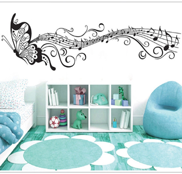 butterfly music Wall Stickers musical notes Kindergarten school classroom wall decoration sticker children bedroom decor XY6023(China (Mainland))
