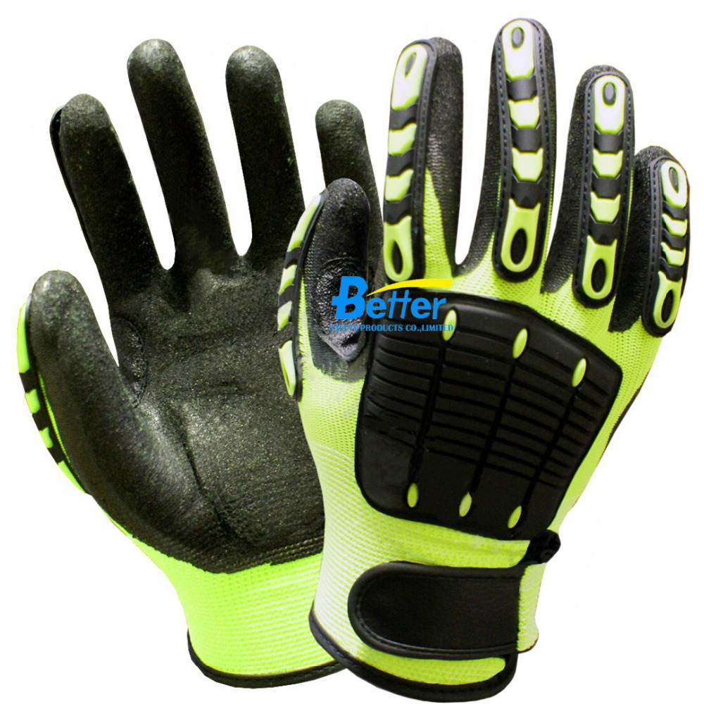 Anti Vibration Oil and Gas Safety Glove Fluorescent Yellow Nylon Shock Absorbing Mechanics Impact Resistant Work Glove(China (Mainland))