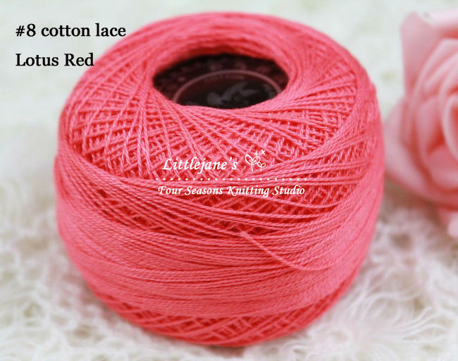 Jane's Yarns~best selling~pure cotton lace yarn~lotus red~spring&summer~handknit or crochet~1kg freeshipping(China (Mainland))