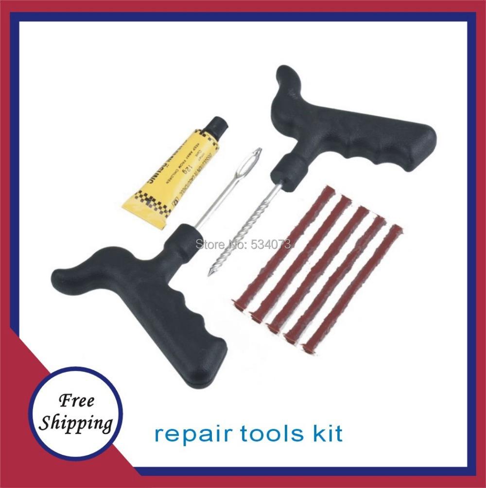 Car tire repair tools / auto repair tools kit / tire vacuum Automatic car tubeless tire puncture repair kit insert 2pcs/lot(China (Mainland))